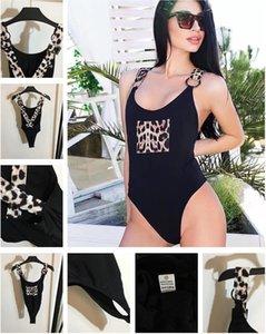 Designer Swimsuits gepolsterte Push-up Frauen sexy Leoparden-Druck-Querstreifen Halfter einteiliger Badeanzug-Badebekleidung im Freien Strand Schwimmbandage