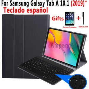Spanish Keyboard Case For Samsung Galaxy Tab A 10.1 2019 T510 T515 SM-T510 SM-T515 Tablet Slim Leather Cover Bluetooth Keyboard