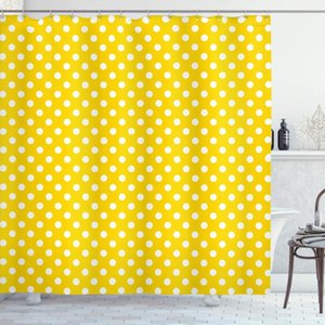 Yellow Decor Shower Curtain By, Picnic Inspired Cute 50s 60s 70s Themed Polka Dot Spotted Pattern Print, Fabric Bathroom Curtains