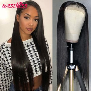 West Kiss Straight 5x5 Lace Closure Wig Brazilian lace front human hair wigs Pre Plucked For Women 150% 180% Density Remy Hair