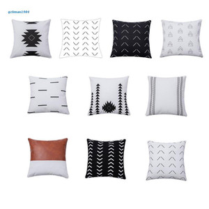 Pillow Case P15D Modern Nordic Cotton Canvas Throw Black White Geometric Patterns Farmhouse Boho Square Cushion Cover Decor