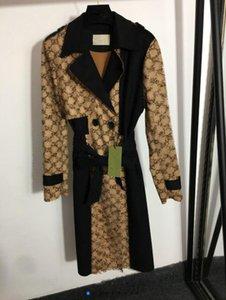 Печатная цветная заблокированная пальто с талией двубортный отворот с длинным рукавом ветровая рубашка 907