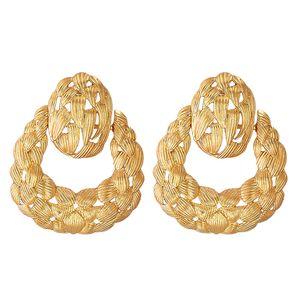 과장된 중공 골드 금속 드롭 귀걸이 고품질 성명서 럭셔리 매달려있는 귀 쥬얼리 액세서리 여성을위한