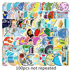 100 marine biological stickers laptop luggage Skin Protectors scooter car phone decoration sticker Computer Accessories PVC