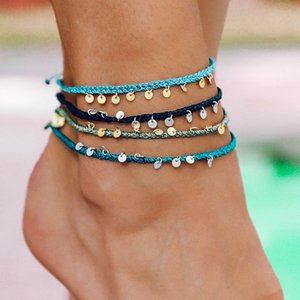 Colorful Rope Braid Vsco Girl Copper Dangle Foot Anklet Barefoot Bracelet Friendship Anklets for Women Boho Beach Jewelry 3569 Q2