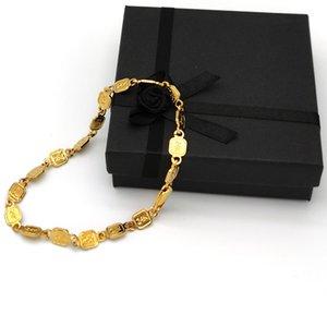 DIY Bractelet Link 24 k Штамп твердого золота подлинная отделка еврея нога женская девушка девушка большая небольшая свобода