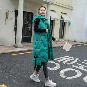 Autumn Winter Fashion Vest Coat Womens Korean Large Size Warm Vests Elegant Hooded Long Ladies Cotton Gilet Women's