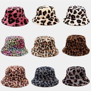 Autumn Faux Fur Leopard cow womens winter bucket hats Thick Warm hat lady Girl Korea Panama Outdoor Travel Velvet Fisherman item