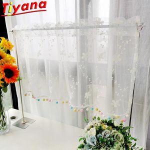 Curtain & Drapes Voile Bottom Colorful Balls Flowers Short Curtains Window Sill Roman Milk Shreds Half Partition Kitchen