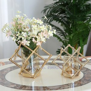 Glass Vase Metal Rack Geometry Abstract Handicraft Furnishings Flower Arrangement Hydroponics Modern Home Decoration Vases