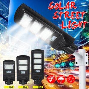 30W 60W 90 W Rua Solar Luz de Radar Movimento Sensor Impermeável IP67 Lâmpada de Parede Ao Ar Livre Luz de jardim de paisagem com pólo
