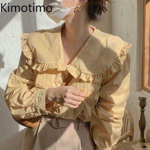 Kimotimo Yellow Peter Pan Collar Shirts Summer Style Ins Fungus Single Breasted Loose Long Sleeve Tops Sweet Temperament 210601