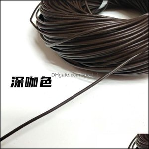 Wire & Components Jewelry1 1.5 2 2.5 3 5Mm 4 Color Genuine Cow Leather Round Thong Cord Diy Bracelet Findings Rope String For Jewelry Making
