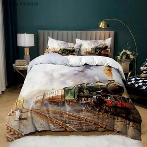 Bedding Sets Old Train 2 3 Piece Vintage Duvet Cover Bedclothes 3d Print Bedspread Girl Boys Home Decor