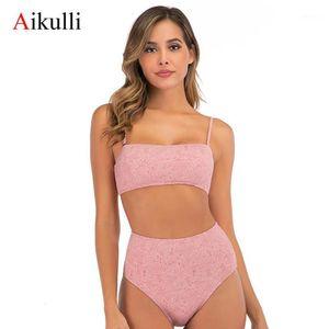 Aikulli 2020 новый сексуальный бикини принт нажимает бикини мягкие бюстгальтерские ремни высокой талии два купальника купальники женские купальники женщины бикини1