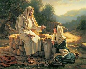 Agua viva (Jesús y mujer) Pintura al óleo sobre lienzo Home Decor Handcrafts / HD Print Wall Art Picture Personalización es aceptable 21051205