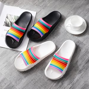 New style indoor and outdoor wear fashion trend rainbow slippers summer home couples antiskid sandals