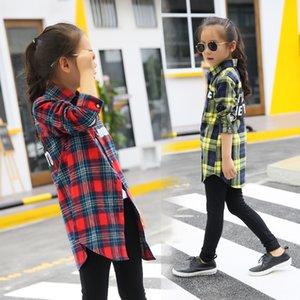 Blusas bebé niña otoño camisa de algodón para adolescentes niños blusa a cuadros tamaño grande 4 6 8 10 12 14 16 años Ropa de niña TENDES Y200704 74 Z2