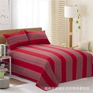 Old coarse cloth bed sheet thickening encryption three piece set single double student quilt cover pillow case