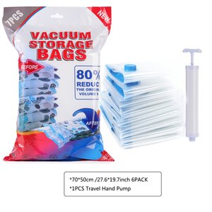 Vacuum for Clothes Storage Bag With Valve Transparent Border Folding Compressed Organizer Travel Space Saving Seal Packet 7pcs lot