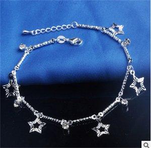 Sıcak Satış Damgalı 925 Ayar Gümüş Halhal Bayan Basit Boncuk Gümüş Zincir Halhal Ayak Bileği Ayak Takı 195 Q2