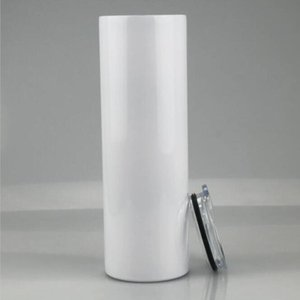 20oz Blank Sublimation Straight Tumblers Stainless Steel Heat Transfer Mugs With Lid and Plastic Straw CYZ3086 dgh