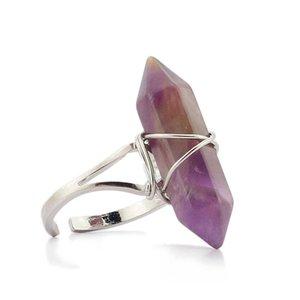 Nuovo prisma esagonale Anelli Gemstone Rock Natural Crystal Quartz Healing Point Chakra Charms Charms Apertura Anelli per le donne Uomo 163 T2