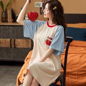 Nightdress Short Sleeved Thin Dress Women Sleepwear Princess Stylecute Cottonloose Summer Maternity Confinement Clothes