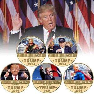 I WILL BE BACK RE-ELECT TRUMP 2024 Coin President Donald Trump Fake Money Anti Never Joe Biden MAGA US Presidential Election Accesseries
