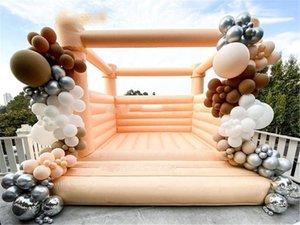 4x4x2.6M Коммерческая или жилая надувная надувная палатка Bouncer White Jumping Bouncy Castle Jumper House с воздушным вентилятором для вечеринки свадебное событие в PVC None Oxford