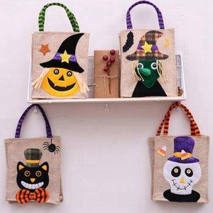 26 * 15cm Bolsa de asas de lino de Halloween Calabaza Bolsas de almacenamiento de caramelo Suministros festivos 4 estilos Halloween Decoración Bolso CYZ3265