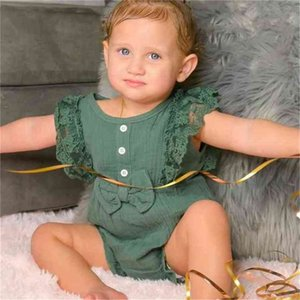 Summer Ins Baby Girl's Siamese Trousers Fashion Lace Bow Jumpsuit + Headscarf Two-piece Suit Button Infant Babys Romper Cute Casual Clothes G701JAL