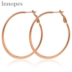 Innopes orecchini con cerchio in oro alla moda esagerato grande rotondo in acciaio inox per donna orecchino moda huggie