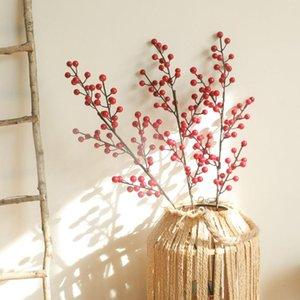 Künstliche Blüten Pflanzen Rote Obst Weihnachten Akazie Rote Bohne Falsche Blume Home Decor Arrangeanische Hochzeitsdekoration