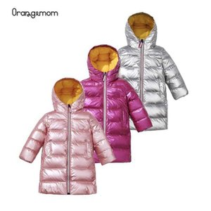 Baby Girl Winter Snowsuit Shiny Color Outerwear With Hooded Soild Long White Duck Down Coats Boys Snowsuit For 3-8 Years Old Kid H0909