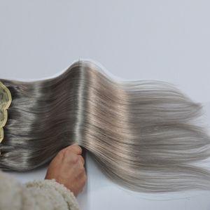 Вес 120G 5 клипов Установить бразильские ремиские человеческие волосы кусочки для волос # 4 коричневые и серые варианты цвета
