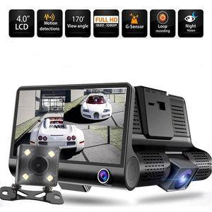 Caméras Taida 1080P Full HD 4 pouces Afficher la voiture DVR Trois lentilles Parking Enregistrer ReaView Caméra Caméra Vidéo Vidéo Vidéo Night Vision