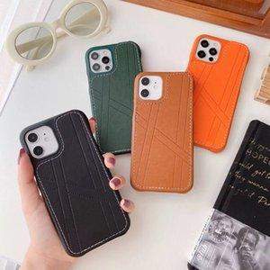 Мода кожаные чехлы сотового телефона для iPhone 7 8 7P 8P SE X XR XS XSMAX 11 12 11PRO 12PRO 11PROMAX 12PROMAX 4 цвета роскошный дизайнер