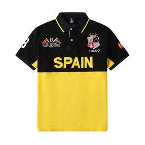 Мода мужские полосы хлопка вышивка буква логотип отворотный рубашка падение с коротким рукавом большой размер топы тройки