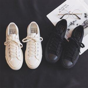Женские летние новые моды черные женщины повседневные холст классический стиль дышащие удобные кроссовки белые туфли 210322