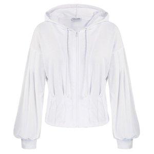 Jaquetas femininas KK mulheres definem cintura com capuz manga longa cair o ombro zip-up casaco moletom sólido