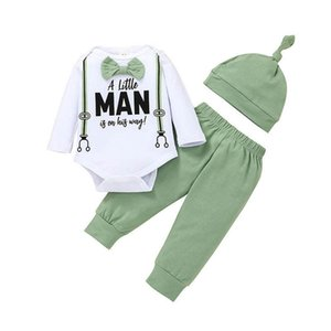 Baby Clothing Sets Boys Suits Infant Outfits Autumn Winter Long-Sleeved Romper Jumpsuit Cotton Trousers Hats 3Pcs B8276