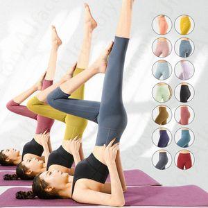 2021 Mujeres Traje de yoga Tela altamente elástica Flexible Funcionamiento Ligero Ligero Nude Sentirse Pantalones Fitness Use Ladies Lu Marca Pantalones recortados