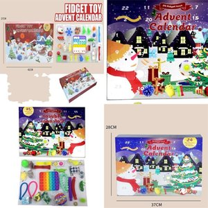 Christmas Fidget Toys Boxes Gifts 24pcs Set Advent Calender Blind Dimple Decompression Toy Push Bubbles Kids Xmas Gift
