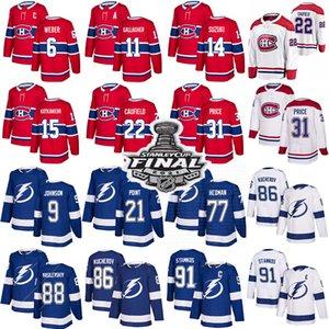 Монреаль Canadiens Хоккейные трикотажные изделия 22 Коул Caufield 14 Ник Сузуки 31 CACLY Price Tampa Bay Lightning 91 Стивен Стамкос 86 Кучеров 77 хедман