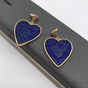 Fan family star's head double g love blue diamond earrings with peach Earringsk