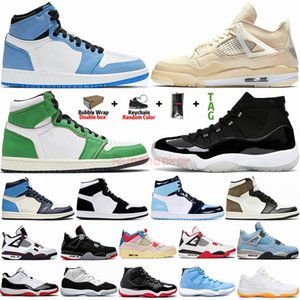 Herren Basketballschuhe 1 1s University Blue Dark Mocha Jumpman 4 4s Segel Weiß gezüchtet 11 11s 25th Anniversary Womens Sports Sneakers Trainer
