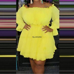 Sexy Off Shoulder Yellow Blue Dress Women Plus Size 5xl Boho Beach Dresses Ladies Party Night Club Evening Long Sleeve Vestidos 74GG#