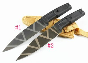High Quality Outdoor Survival Straight Knife 8Cr13Mov Titanium Coated Satin Blade ABS Rubber Handle Fixed Blades Knives With Nylon Sheath