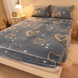 Sheets & Sets 2021 Professional Cartoon Print Fleece Embossed Fitted Bed Sheet Soft Cozy Stretch All-inclusive Mattress Winter Cover Protect